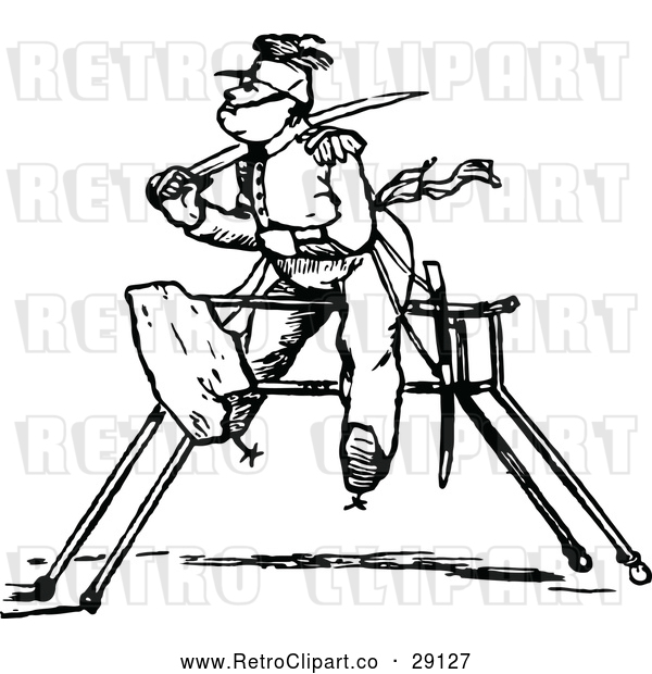 Vector Clip Art of Retro Soldier on a Wooden Horse