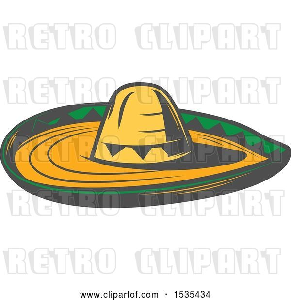 Vector Clip Art of Retro Sombrero Hat, in Style