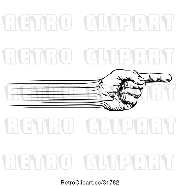 Vector Clip Art of Retro Speed Lines Creating a Pointing Hand