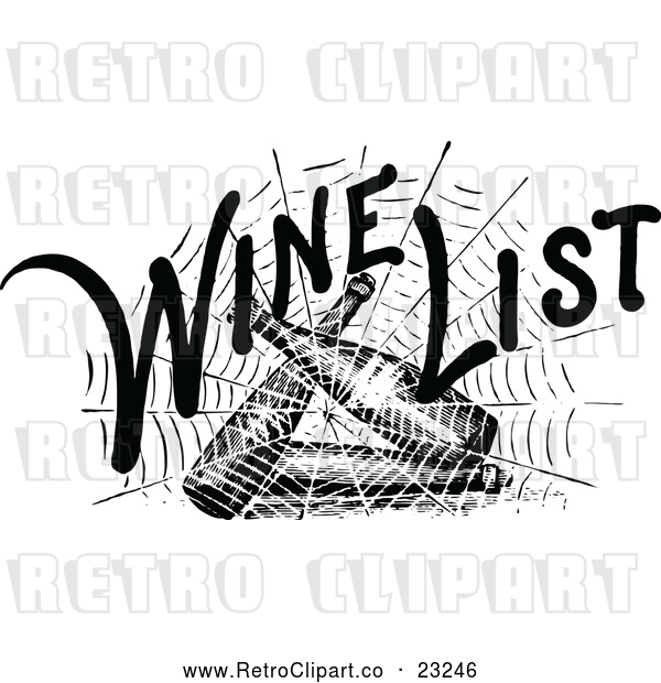 Vector Clip Art of Retro Spider Web with Wind List Text over Bottles