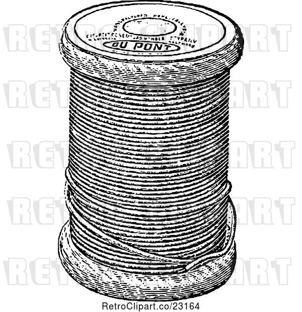 Vector Clip Art of Retro Spool of Sewing Thread
