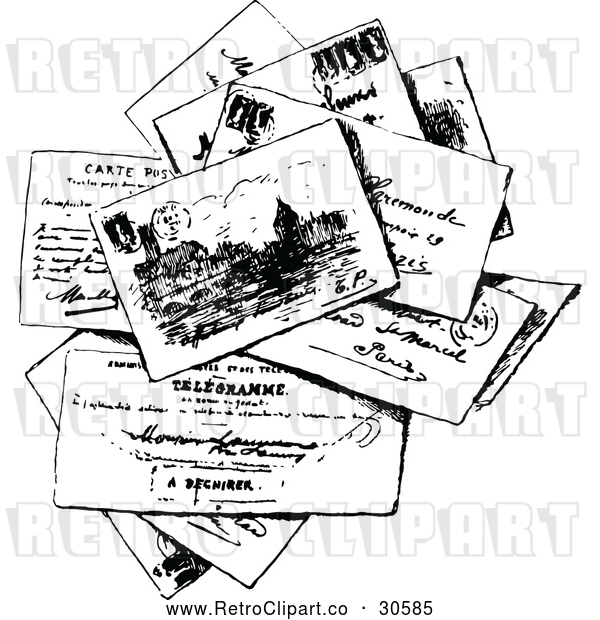 Vector Clip Art of Retro Stack of Post Cards