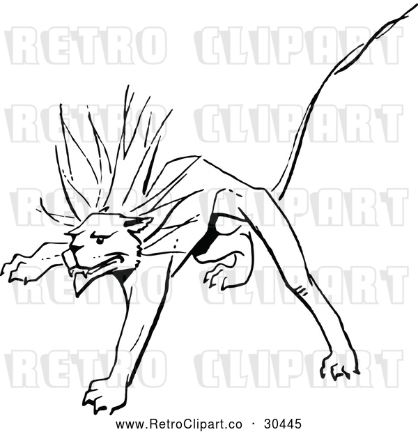Vector Clip Art of Retro Stalking Lion
