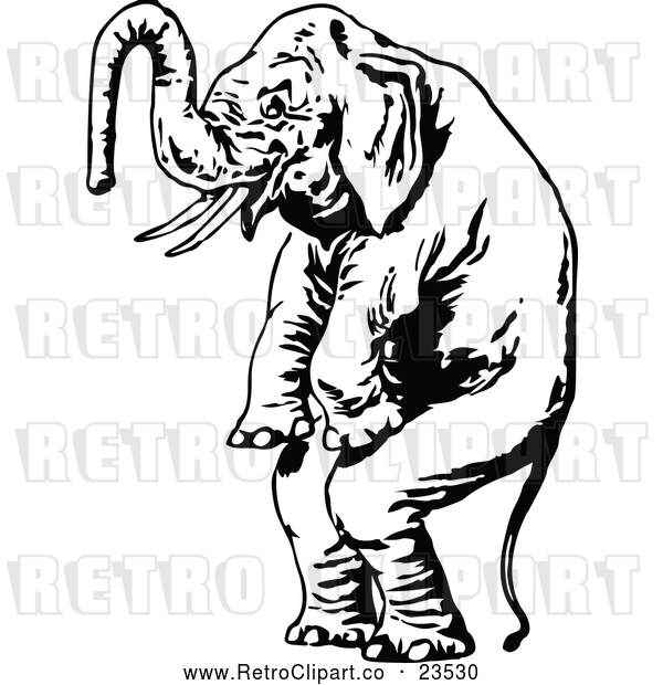 : Vector Clip Art of Retro Standing Elephant