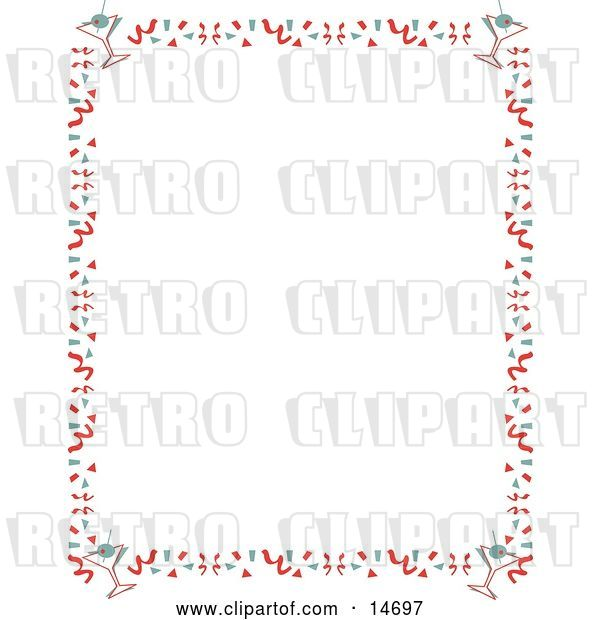 Vector Clip Art of Retro Stationery Background of with a Border of Confetti and Martinis Clipart Illustration