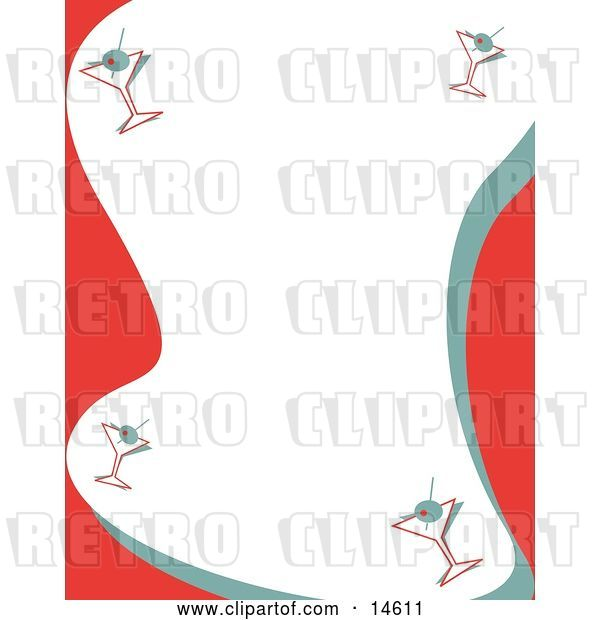 Vector Clip Art of Retro Stationery Background with a Border of Martinis Clipart Illustration