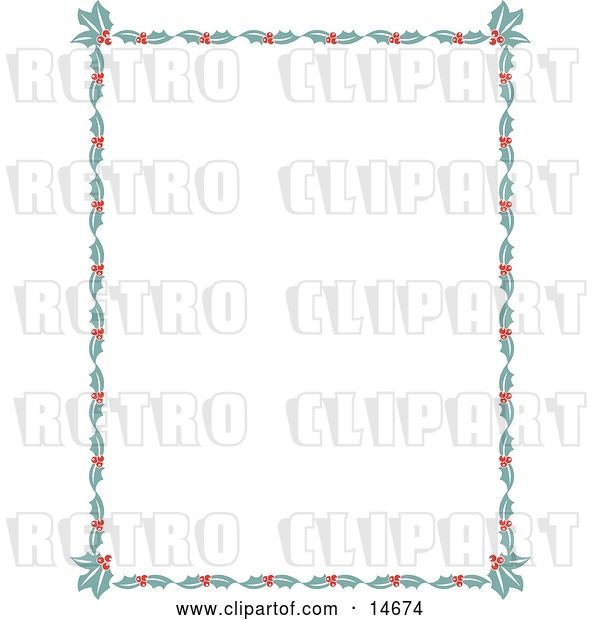 Vector Clip Art of Retro Stationery Border of Holly Leaves and Berries Around a White Background Clipart Illustration