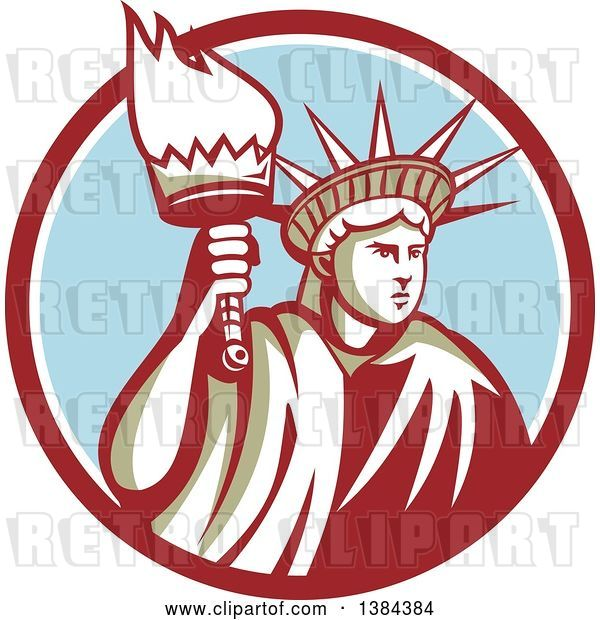 Vector Clip Art of Retro Statue of Liberty Holding a Torch in a Maroon White and Blue Circle