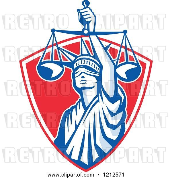 Vector Clip Art of Retro Statue of Liberty Holding Justice Scales in a Red Shield