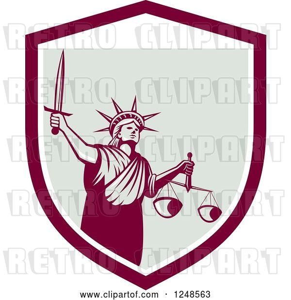 Vector Clip Art of Retro Statue of Liberty with a Sword and Scales in a Shield