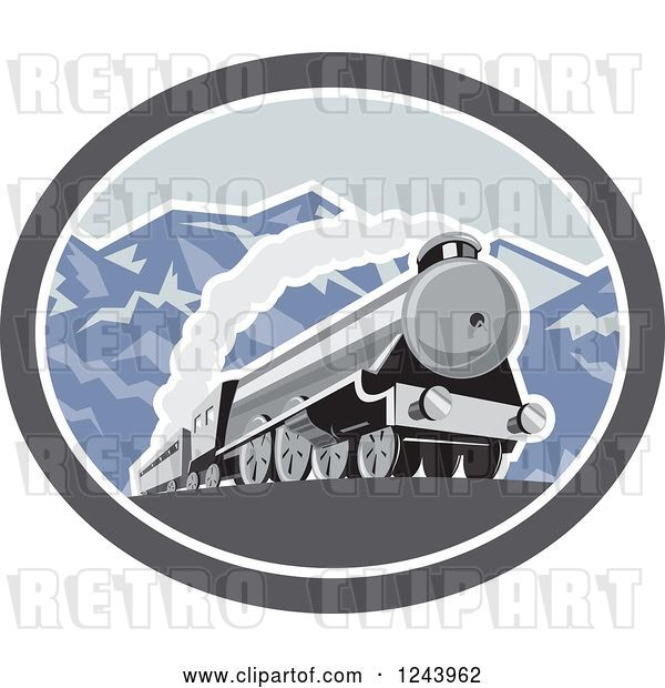 Vector Clip Art of Retro Steam Engine Train in the Mountains Inside an Oval