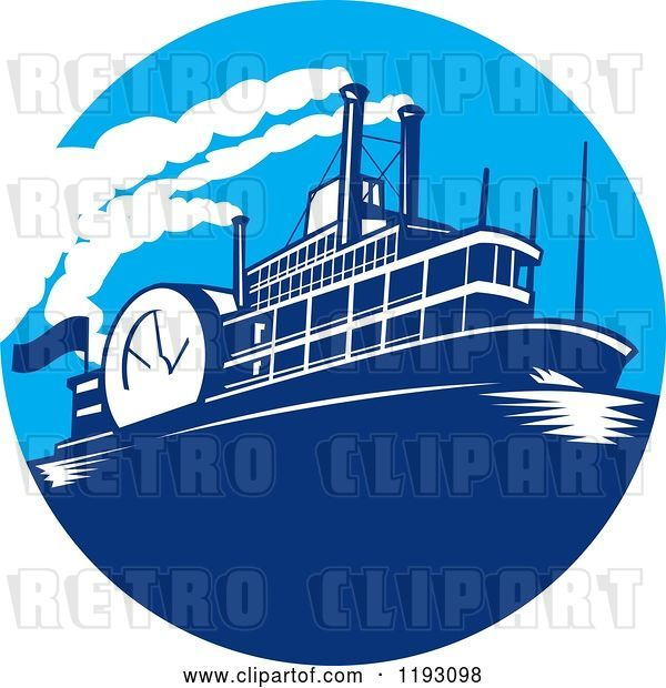 Vector Clip Art of Retro Steamboat in a Blue Circle
