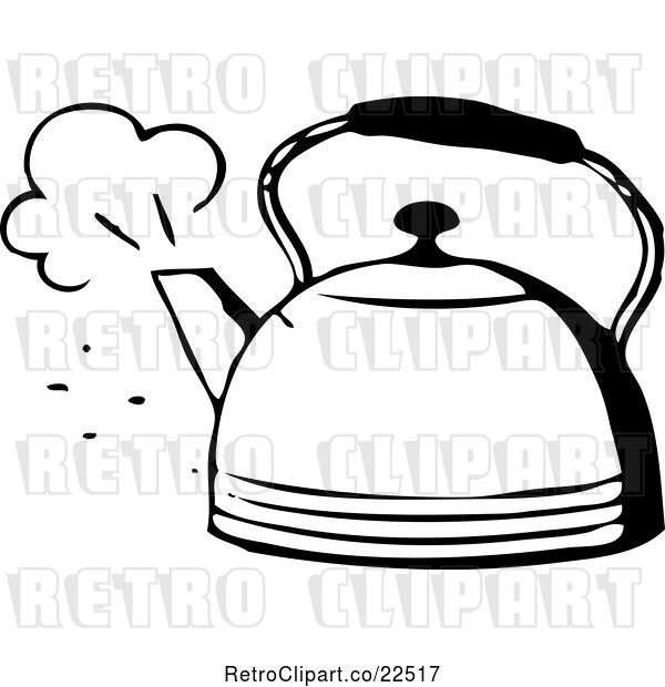 Vector Clip Art of Retro Steaming Tea Pot