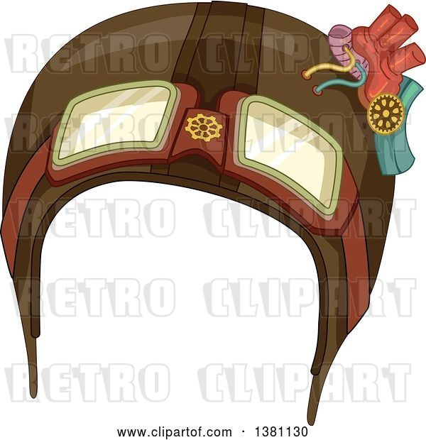 Vector Clip Art of Retro Steampunk Aviator Helmet with Gears
