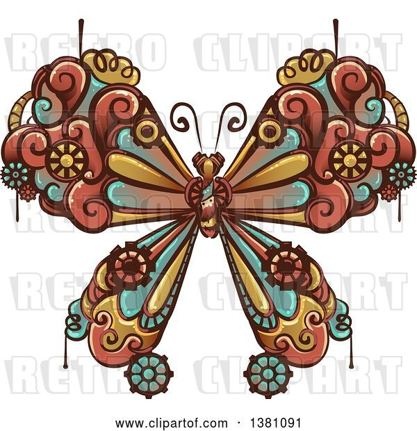 Vector Clip Art of Retro Steampunk Butterfly with Gear Cogs