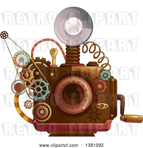 Vector Clip Art of Retro Steampunk Camera with a Flash and Gears