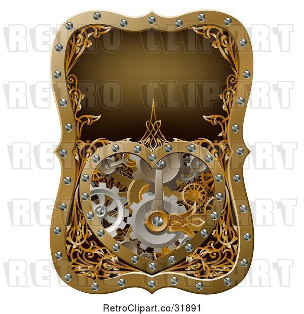Vector Clip Art of Retro Steampunk Clock Work Heart with Gears