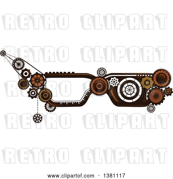 Vector Clip Art of Retro Steampunk Glasses Frames with Gears