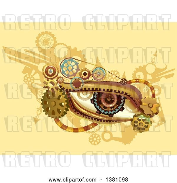 Vector Clip Art of Retro Steampunk Human Eye with Gears on Yellow