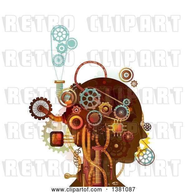 Vector Clip Art of Retro Steampunk Human Head with Mechanical Gears and Pipes