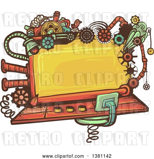 Vector Clip Art of Retro Steampunk Screen with Gears, Lights, Pipes, Springs and a Bird