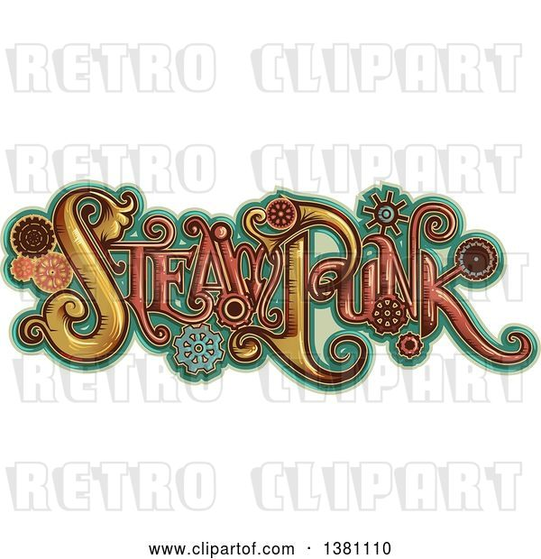 Vector Clip Art of Retro Steampunk Text with Gears over Turquoise