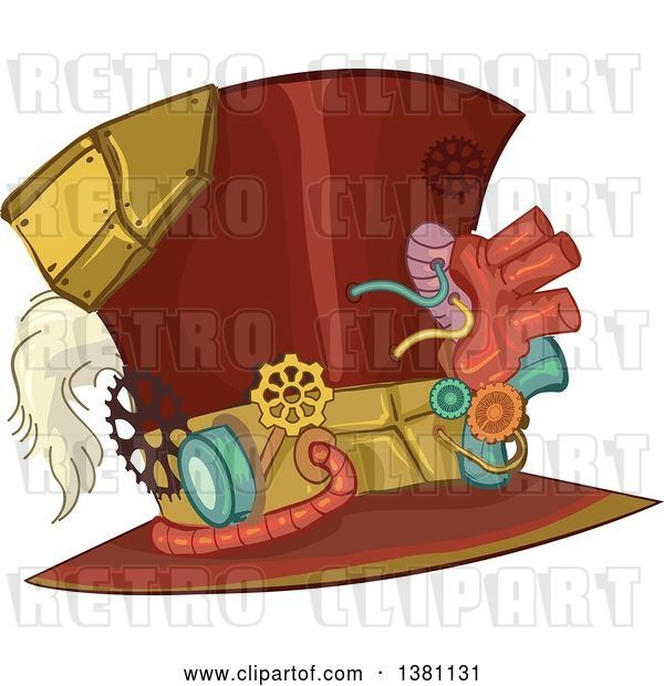 Vector Clip Art of Retro Steampunk Top Hat with Gears