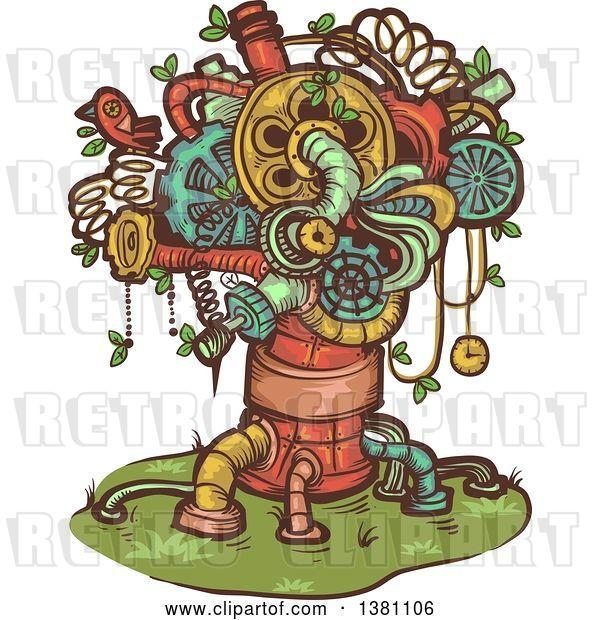 Vector Clip Art of Retro Steampunk Tree Made of Pipes, Springs and Gears