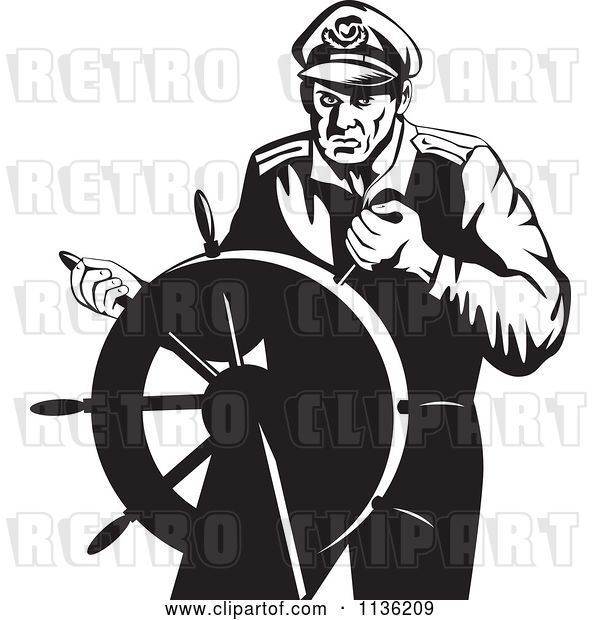 Vector Clip Art of Retro Steering Captain