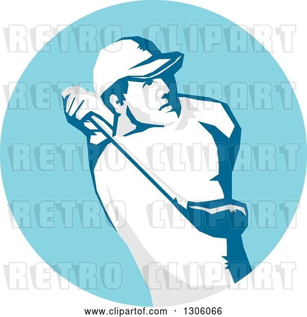 Vector Clip Art of Retro Stencil Styled Male Golfer Swinging in a Blue Circle