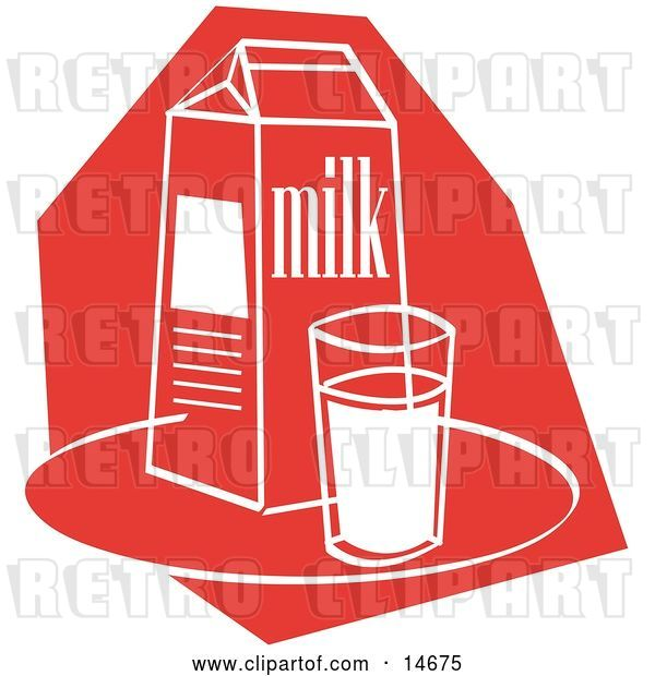 Vector Clip Art of Retro Still Life of a Whole Glass of Milk by a Milk Carton Clipart Illustration