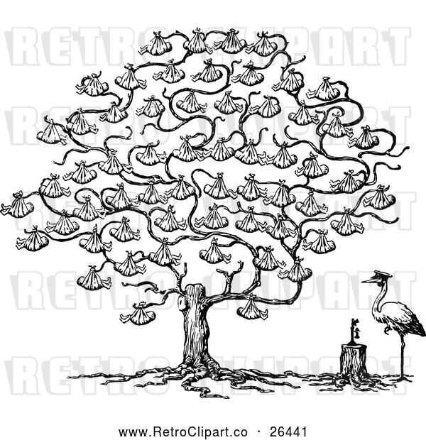 Vector Clip Art of Retro Stork and Baby Tree