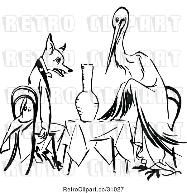Vector Clip Art of Retro Stork and Fox Dining