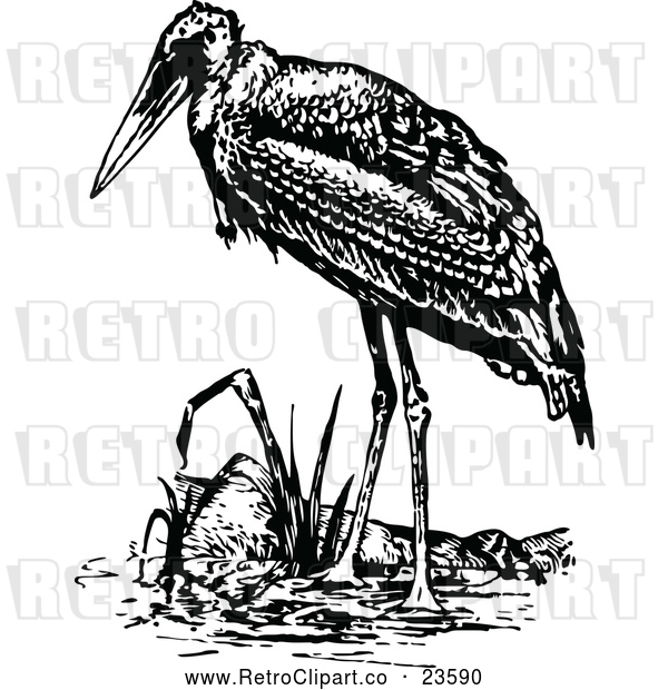 Vector Clip Art of Retro Stork