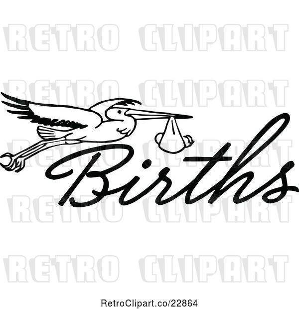 Vector Clip Art of Retro Stork with a Baby and the Word Births