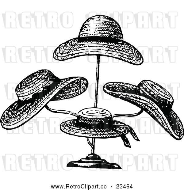 Vector Clip Art of Retro Straw Hats on a Stand