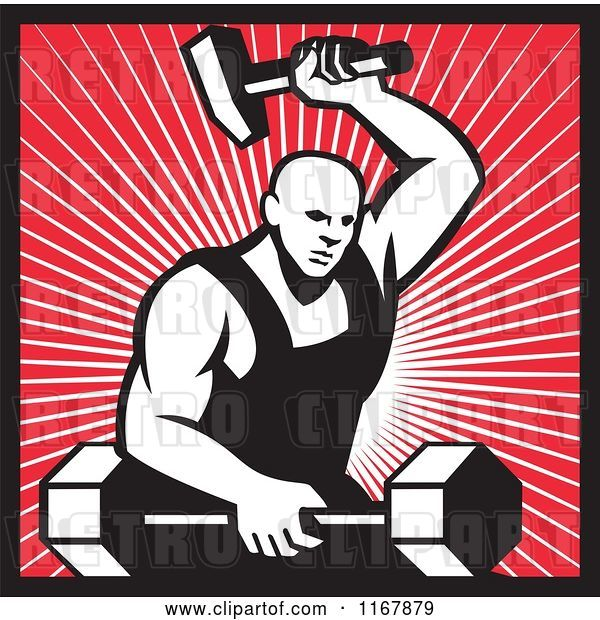 Vector Clip Art of Retro Strong Blacksmith Forging a Barbell over Rays and Outlined in Red