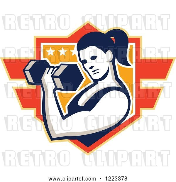 Vector Clip Art of Retro Strong Lady Doing Bicep Curls with a Dumbbell over a Shield