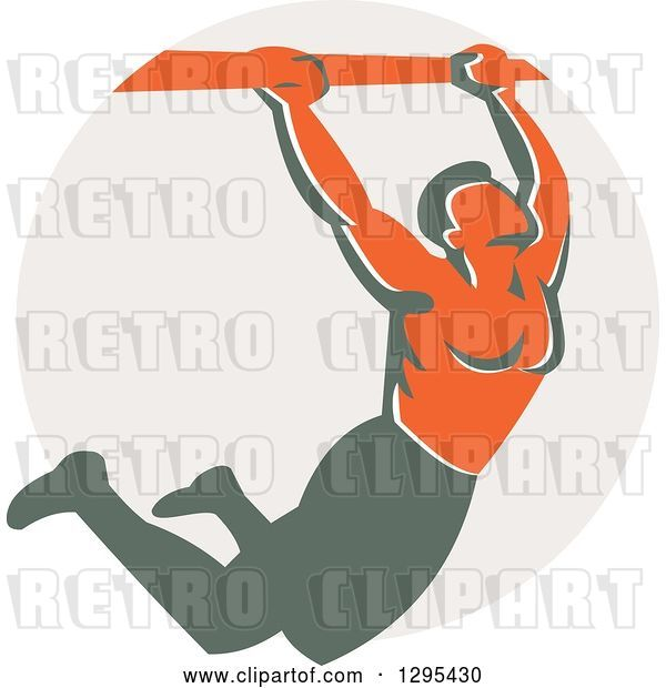 Vector Clip Art of Retro Strong Male Bodybuilder Doing Pull Ups on a Bar over a Taupe Circle