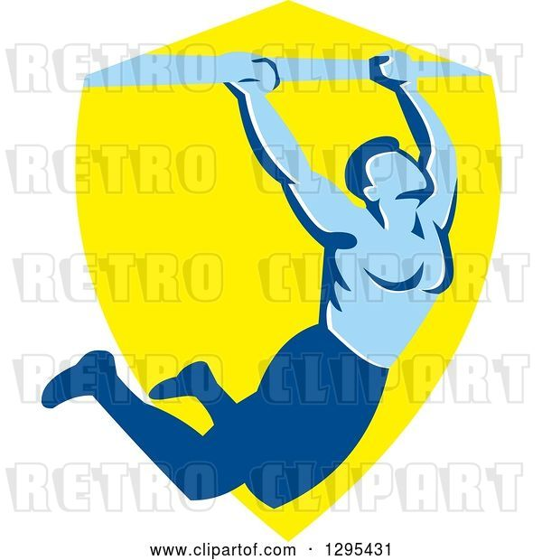 Vector Clip Art of Retro Strong Male Bodybuilder Doing Pull Ups on a Bar over a Yellow Shield