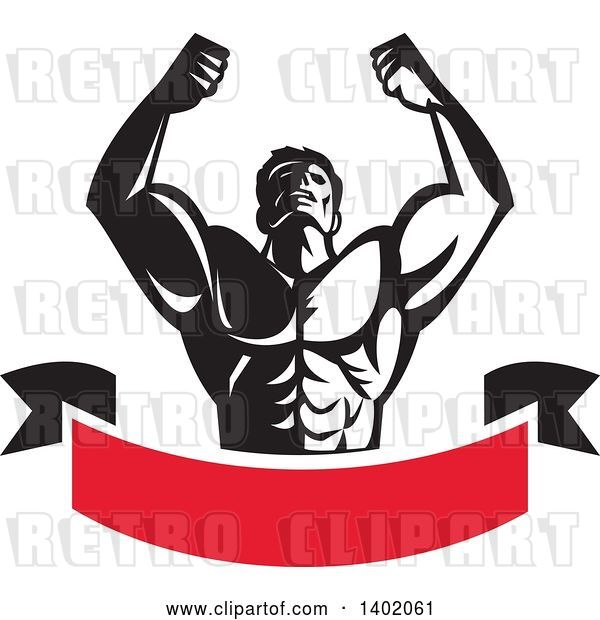 Vector Clip Art of Retro Strong Male Bodybuilder Holding His Arms up and Flexing over a Red Banner