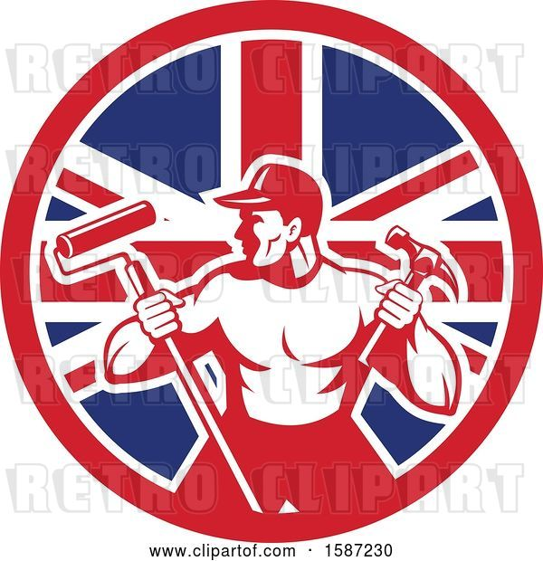 Vector Clip Art of Retro Strong Male Painter or Handy Guy in a Union Jack Flag Circle