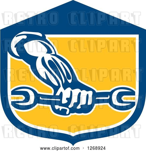 Vector Clip Art of Retro Strong Mechanic Hand Holding a Wrench in a Blue White and Yellow Shield