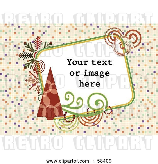 Vector Clip Art of Retro Styled Christmas Box with Sample Text on a Tiled Background