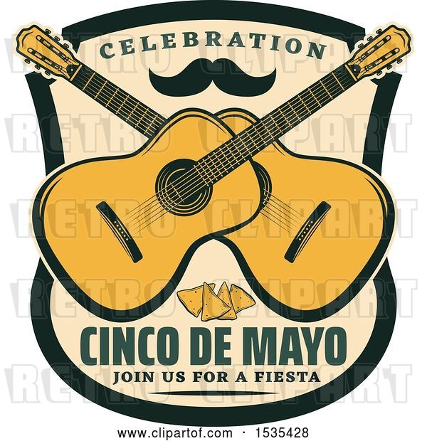 Vector Clip Art of Retro Styled Cinco De Mayo Design with a Mustache, Guitars and Tortilla Chips