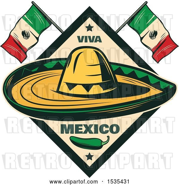 Vector Clip Art of Retro Styled Cinco De Mayo Design with a Sombrero, Jalapeno and Mexican Flags