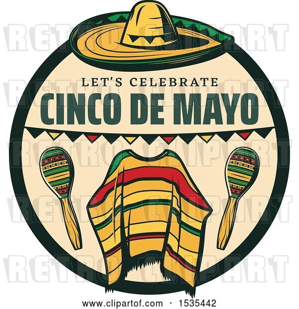 Vector Clip Art of Retro Styled Cinco De Mayo Design with a Sombrero, Poncho and Maracas