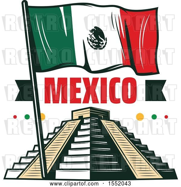Vector Clip Art of Retro Styled Cinco De Mayo Design with El Castillo Pyramid and a Flag