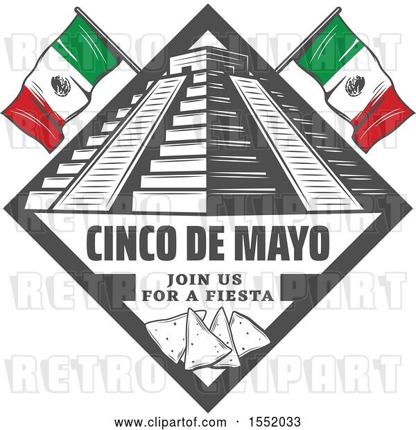 Vector Clip Art of Retro Styled Cinco De Mayo Design with El Castillo Pyramid and Tortilla Chips