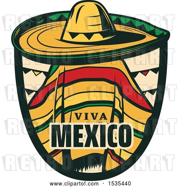 Vector Clip Art of Retro Styled Cinco De Mayo Viva Mexico Design with a Sombrero and Poncho
